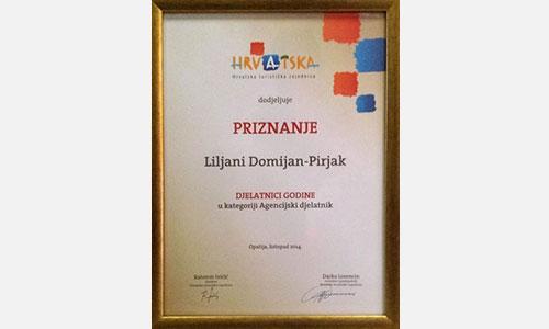 Jadroagent dd rijeka ljiljana domijan pirjak awarded for the best tourist employee of the year 2014 fandeluxe Gallery